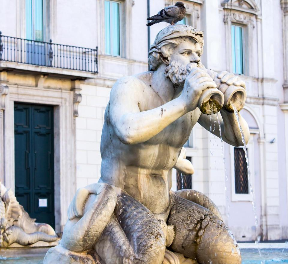 One of four Tritons in the Fontana del Moro in Piazza Navona in Rome.