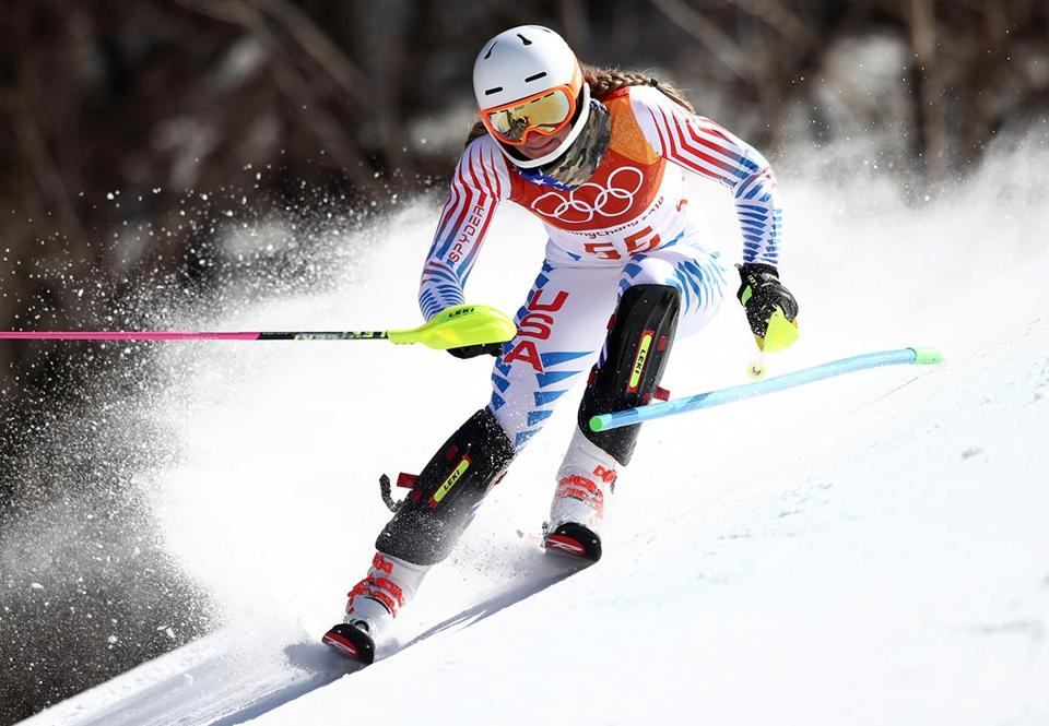 PYEONGCHANG-GUN, SOUTH KOREA - FEBRUARY 16: Alice Merryweather of the United States competes during the Ladies' Slalom Alpine Skiing at Yongpyong Alpine Centre on February 16, 2018 in Pyeongchang-gun, South Korea. (Photo by Ezra Shaw/Getty Images)