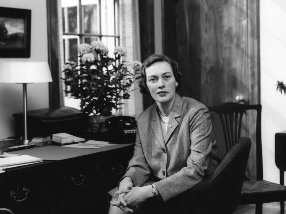 Miss Wing in her office in 1963, her first year as director of Winsor School.