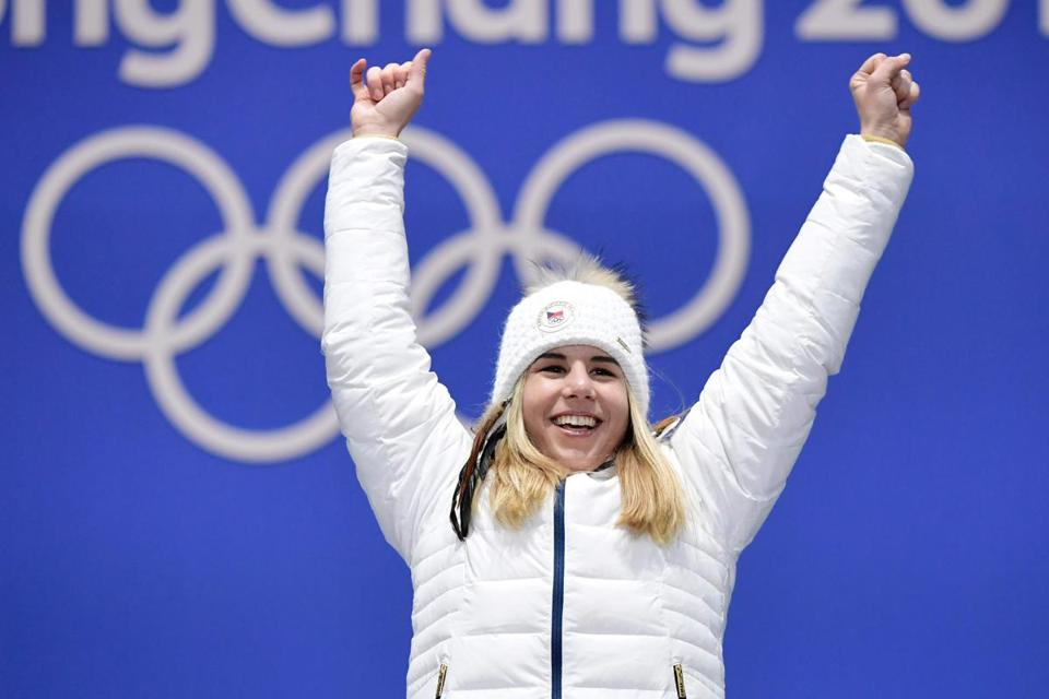 Czech Republic's gold medallist Ester Ledecka poses on the podium during the medal ceremony for the alpine skiing women's Super-G at the Pyeongchang Medals Plaza during the Pyeongchang 2018 Winter Olympic Games in Pyeongchang on February 17, 2018. / AFP PHOTO / JAVIER SORIANOJAVIER SORIANO/AFP/Getty Images