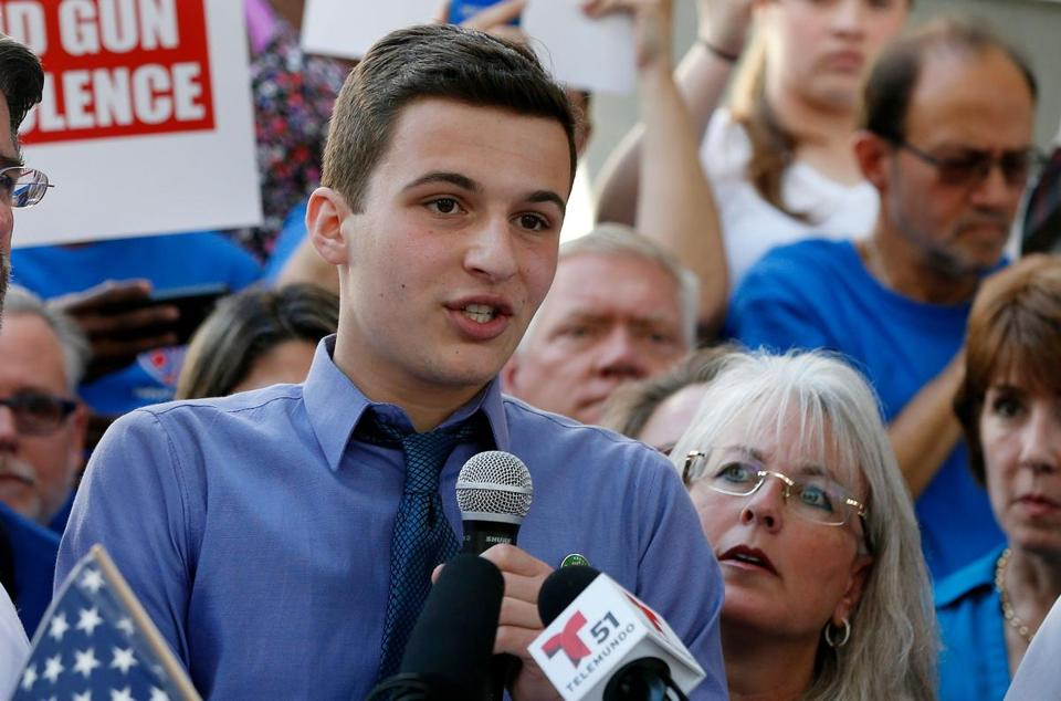 Student Cameron Kasky spoke at a rally for gun control Sunday in Fort Lauderdale, Fla.