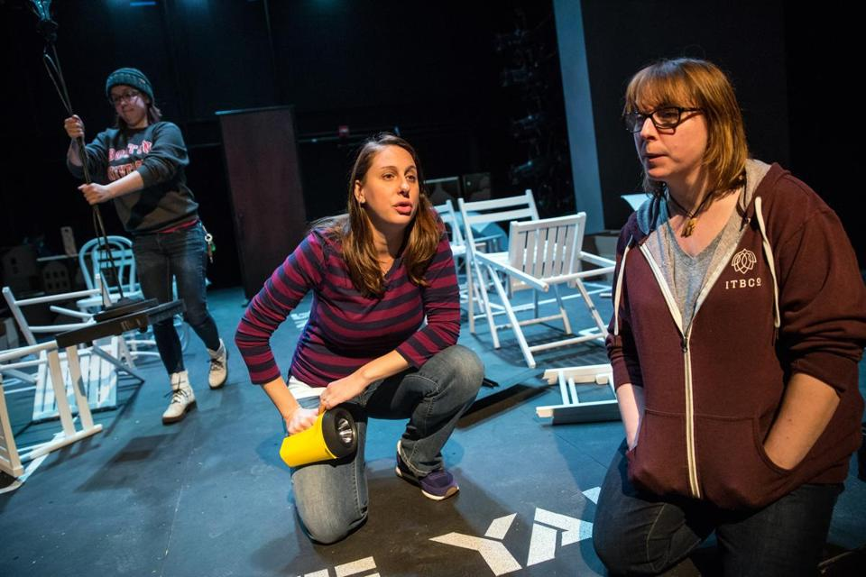"Director Bridget Kathleen O'Leary (right) works with actor Veronica Duerr, who plays Zoe, during a rehearsal of ""Ripe Frenzy."""
