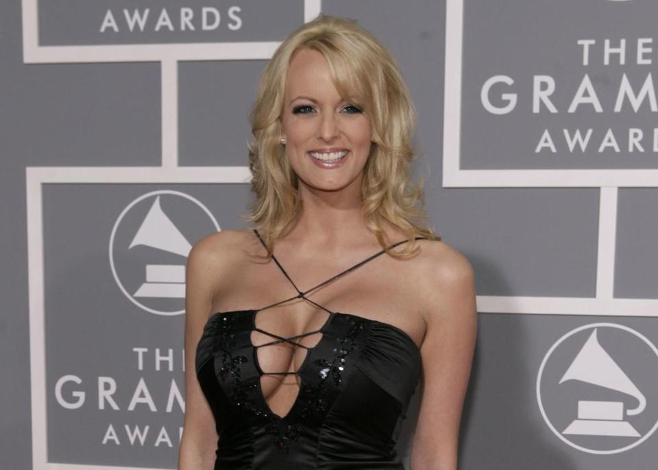 FILE - In this Feb. 11, 2007, file photo, Stormy Daniels arrives for the 49th Annual Grammy Awards in Los Angeles. President Donald Trump's personal attorney says he paid $130,000 out of his own pocket to a porn actress who allegedly had a sexual relationship with Trump in 2006.