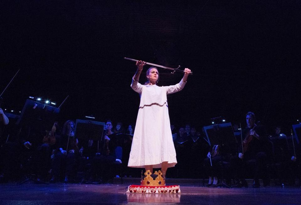 "Dancer Shura Baryshnikov in the title role of Odyssey Opera's ""Joan of Arc at the Stake."""