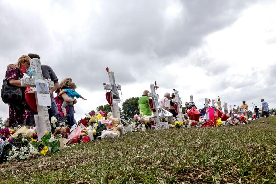 Mandatory Credit: Photo by CRISTOBAL HERRERA/EPA-EFE/REX/Shutterstock (9427935c) People visit a makeshift memorial in front of the Marjory Stoneman Douglas High School in, Parkland, Florida, USA, 20 February 2018.