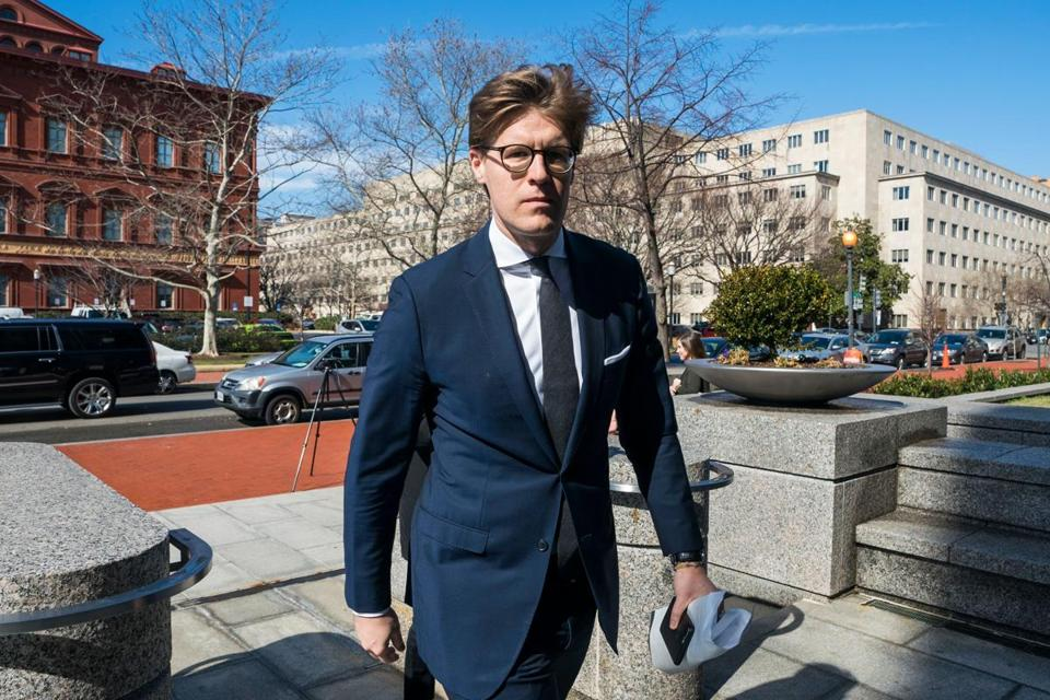 Alex Van Der Zwaan walked into the Washington field office of the FBI for processing before offering his plea at the Federal courthouse to making false statements to federal investigators on Tuesday.