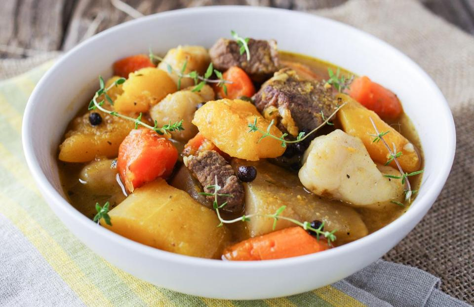 Jamaican pumpkin-beef soup with dumplings