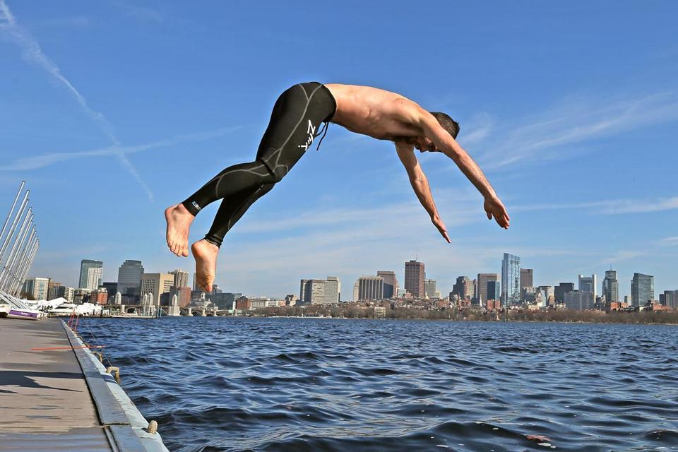 Trevor Long took a dive off the MIT sailing dock Wednesday.
