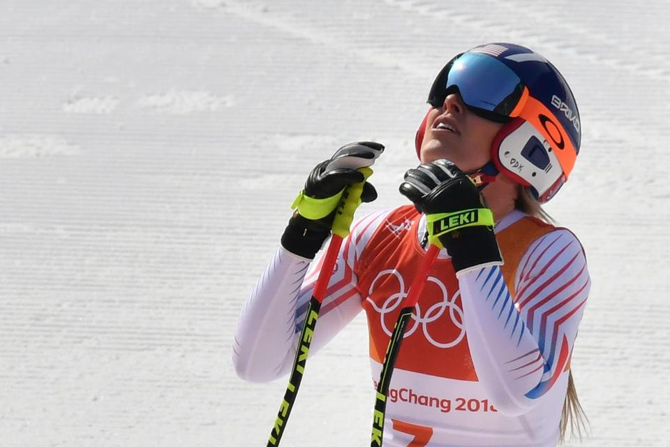USA's Lindsey Vonn reacts after crossing the finish line of the women's Downhill at the Jeongseon Alpine Center during the Pyeongchang 2018 Winter Olympic Games on February 21, 2018 in Pyeongchang. / AFP PHOTO / Fabrice COFFRINIFABRICE COFFRINI/AFP/Getty Images