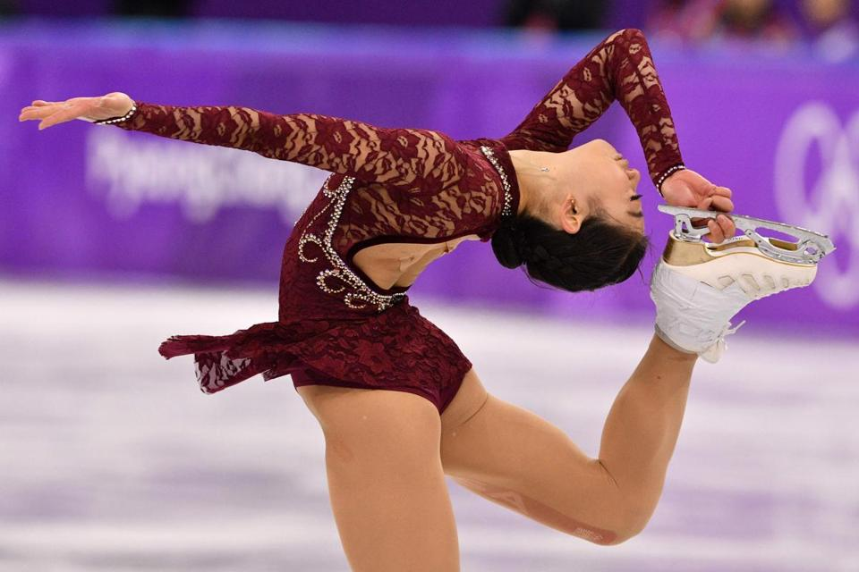 TOPSHOT - USA's Mirai Nagasu competes in the women's single skating short program of the figure skating event during the Pyeongchang 2018 Winter Olympic Games at the Gangneung Ice Arena in Gangneung on February 21, 2018. / AFP PHOTO / Mladen ANTONOVMLADEN ANTONOV/AFP/Getty Images