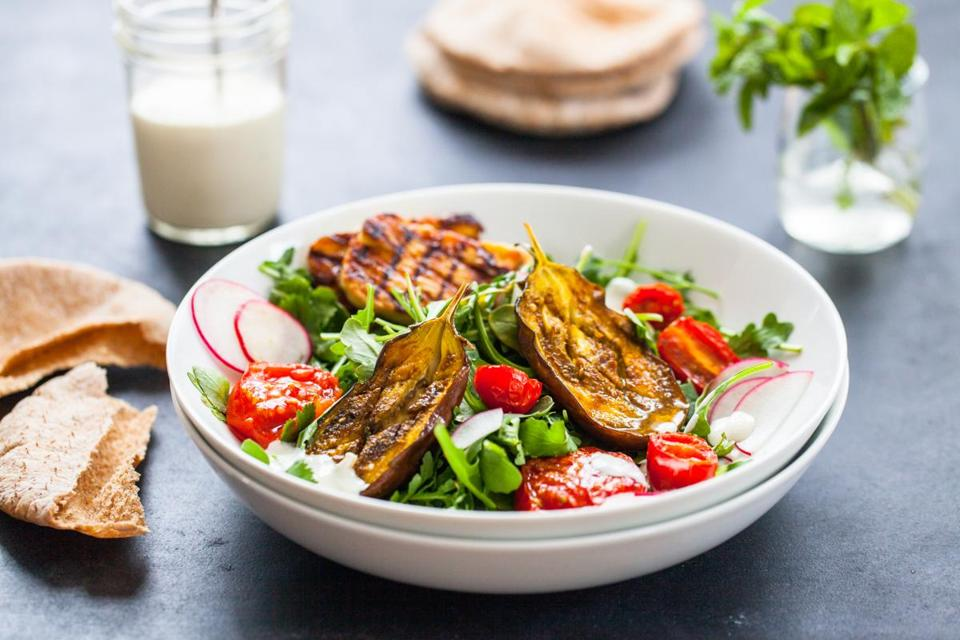 Roasted eggplant bowls with grilled halloumi and tahini sauce