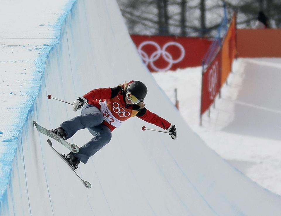 Elizabeth Marian Swaney, competing for Hungary, during the women's freestyle ski half-pipe qualifiers on Monday in South Korea.