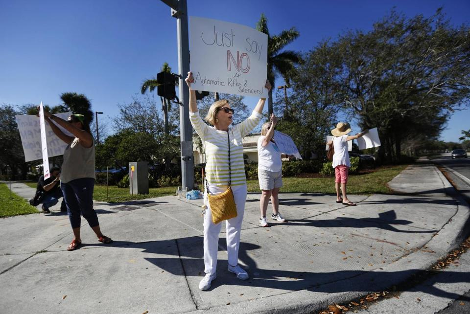 Teacher Cathy Kuhns demonstrated on a corner in Parkland, Fla.