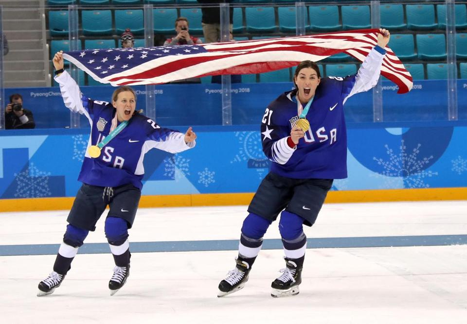 Hilary Knight (left) netted a first-period goal en route to the US winning the gold medal at the 2018 PyeongChang Winter Olympics.