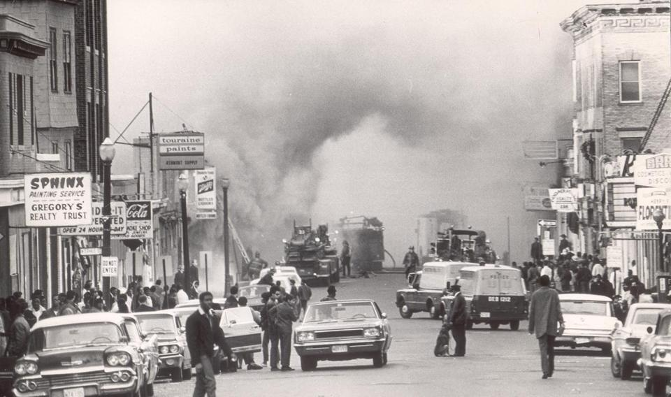 Fires burned on Blue Hill Avenue on April 5, 1968, a day after the assassination of Martin Luther King Jr.