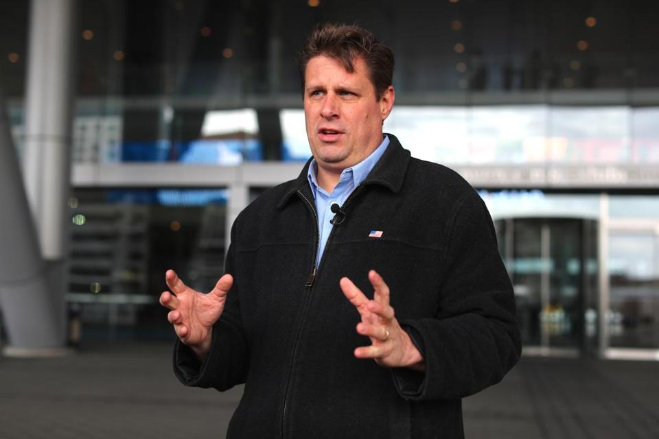 Boston -02/23/18- Representative Geoff Diehl, a candidate for U.S. Senate spoke outside the Boston Convention and Exhibition Center to ciritcize Sen Elizabeth Warren for votong against the 21st Century Cures Act. Former President Barak Obama was speaking inside before a sports analytics conference, and that is why he spoke outside, showing his support for Obama's 21st Century Cures Act. John Tlumacki/Globe Staff(metro)