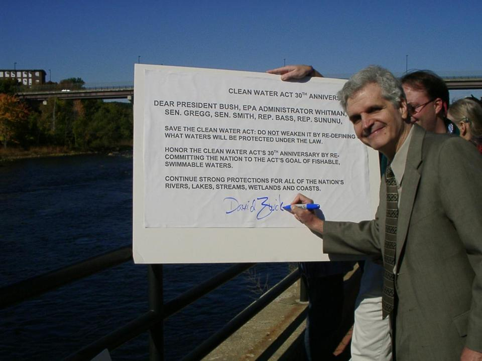 Mr. Zwick along the Merrimack River in 2002, marking the 30th anniversary of the Clean Water Act.