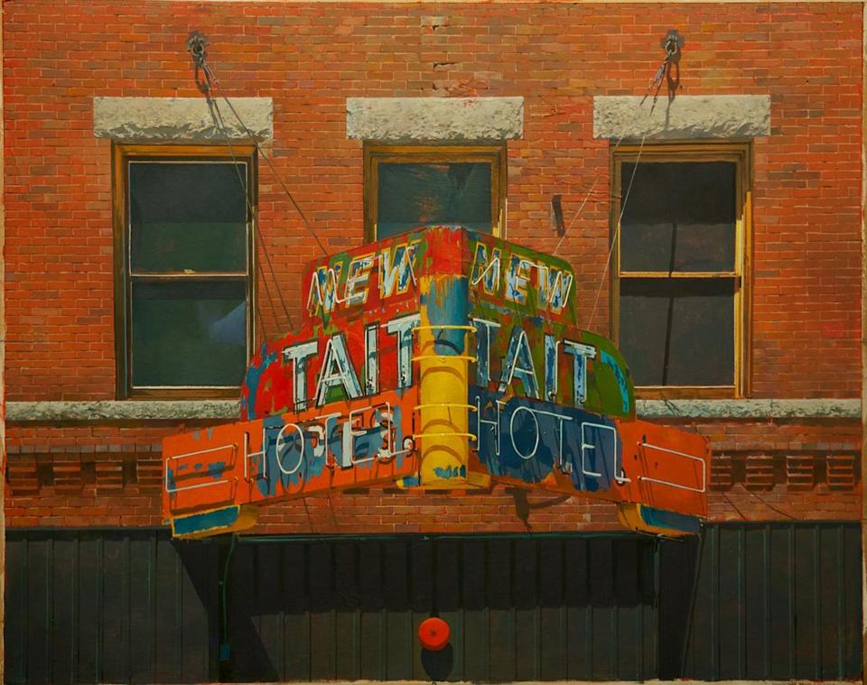"Joseph McNamara's ""New Tait Hotel (as seen from the Hotel Finlen, Butte, MT)"" is part of ""Joseph McNamara: Realizations"" at Gallery NAGA through March 31."