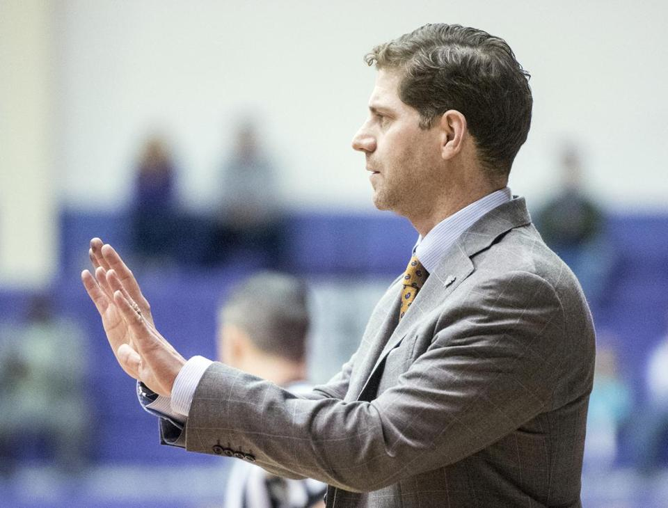 Drexel head coach Zach Spiker signals to his team during the first half of an NCAA basketball game against James Madison in Harrisonburg, Va., Saturday, Jan. 20, 2018. (Daniel Lin/Daily News-Record Via AP)