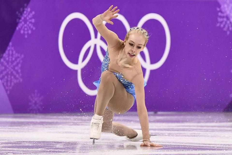 USA's Bradie Tennell competes in the women's single skating free skating of the figure skating event during the Pyeongchang 2018 Winter Olympic Games at the Gangneung Ice Arena in Gangneung on February 23, 2018. / AFP PHOTO / ARIS MESSINISARIS MESSINIS/AFP/Getty Images