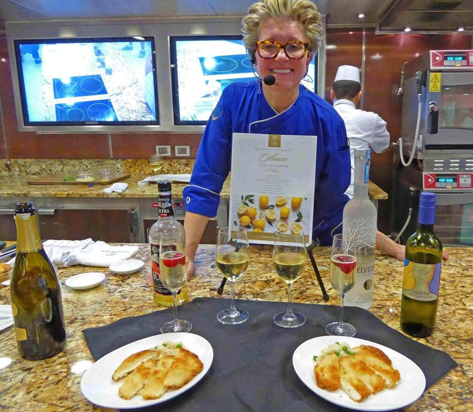Kathryn Kelly concludes a cooking class about lemons aboard the Oceania Marina.