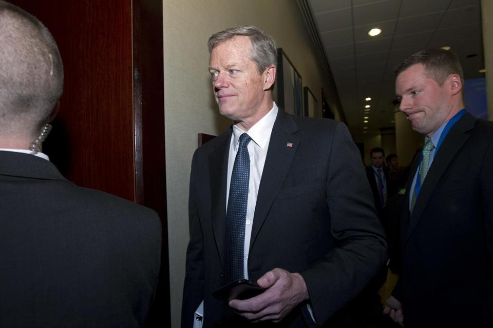 Gov. Charlie Baker of Massachusetts arrives to a governors closed meeting during the National Governor Association 2018 winter meeting, on Saturday, Feb. 24, 2018, in Washington. (AP Photo/Jose Luis Magana)