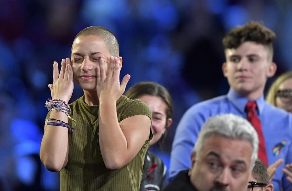 Marjory Stoneman Douglas High School student Emma Gonzalez wipes away tears during a CNN town hall meeting on Wednesday.
