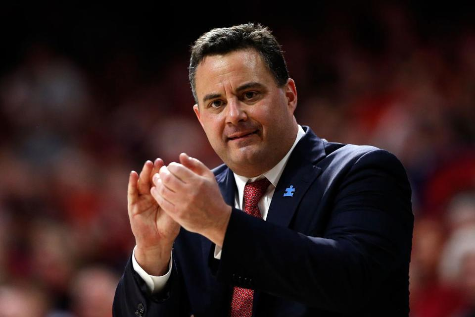 TUCSON, AZ - FEBRUARY 10: Head coach Sean Miller of the Arizona Wildcats gestures during the first half of the college basketball game against the USC Trojans at McKale Center on February 10, 2018 in Tucson, Arizona. (Photo by Chris Coduto/Getty Images)