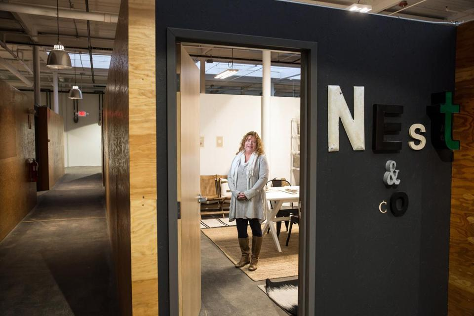 02/25/2018 NORWOOD, MA Owner Tracy Parkinson (cq) poses for a photo at the Nest + Co office space at the Norwood Space Center. (Aram Boghosian for The Boston Globe)