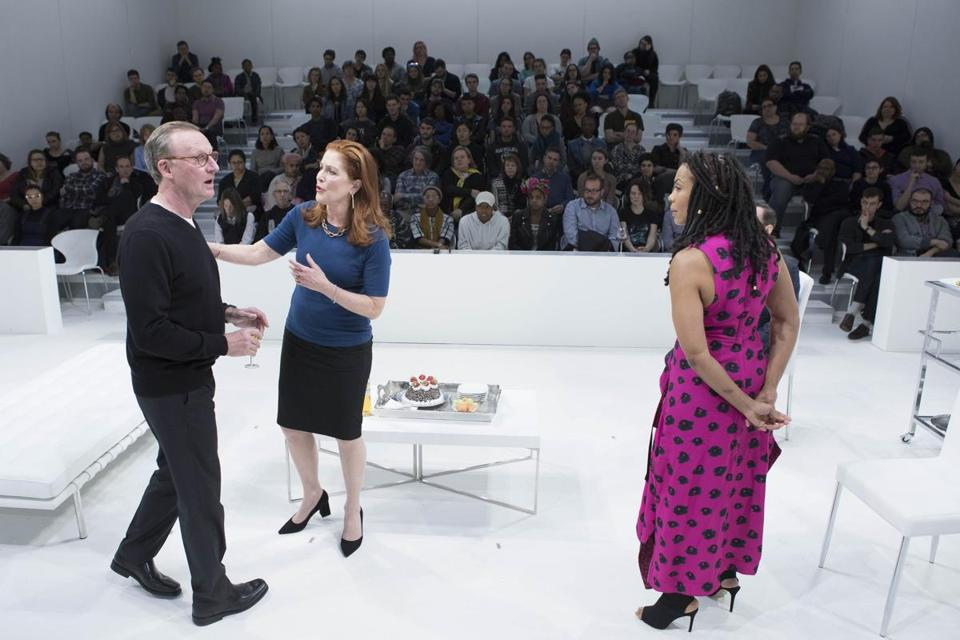 "Daniel Gerroll, Patricia Kalember (center), and Karen Pittman in ""The White Card."""