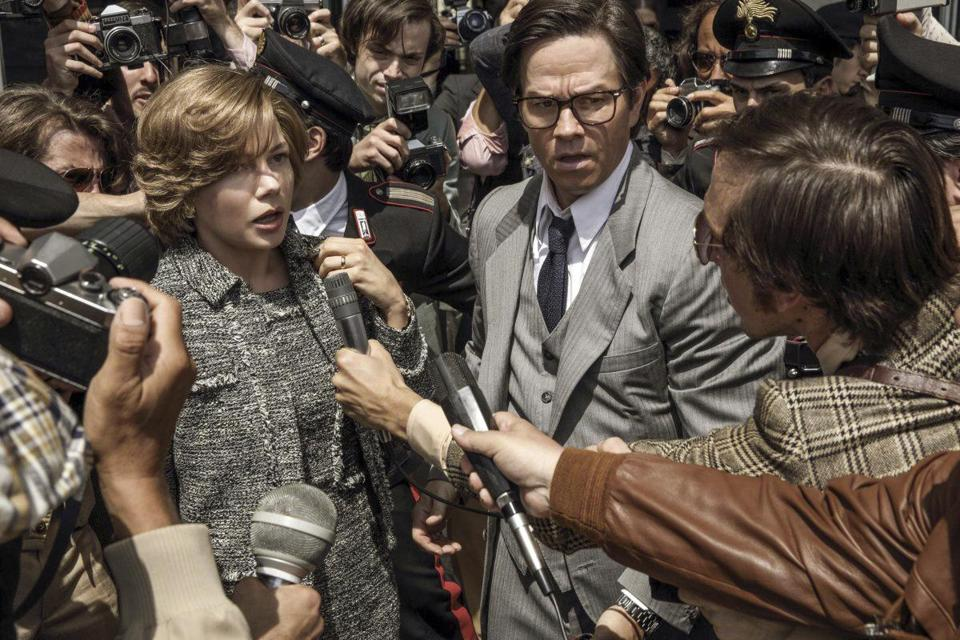 "Michelle Williams and Mark Wahlberg in ""All The Money in the World."""