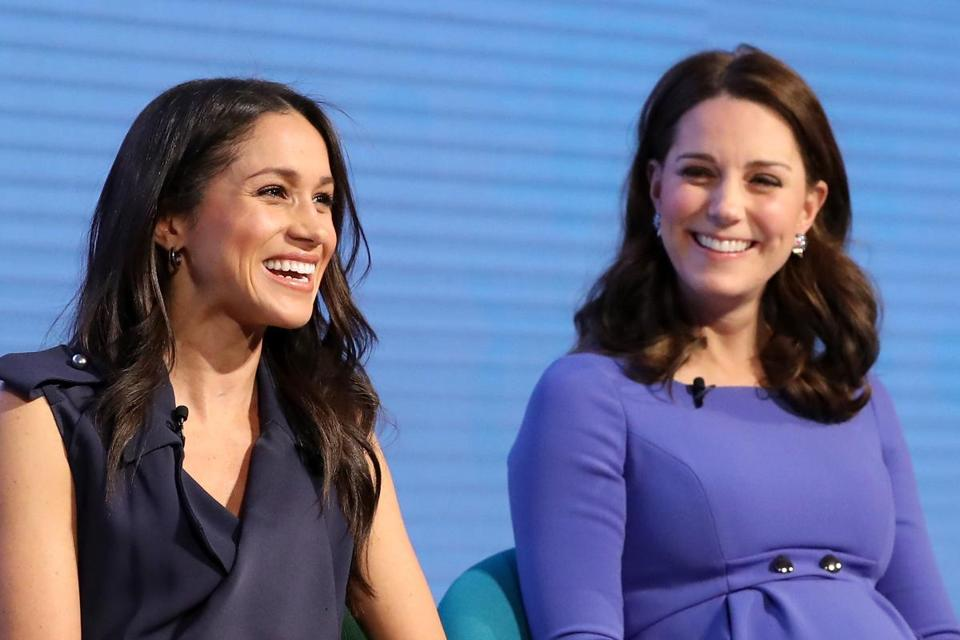 US actress and fiancee of Britain's Prince Harry Meghan Markle (L) and Britain's Catherine, Duchess of Cambridge attend the first annual Royal Foundation Forum on February 28, 2018 in London. / AFP PHOTO / POOL / Chris JacksonCHRIS JACKSON/AFP/Getty Images