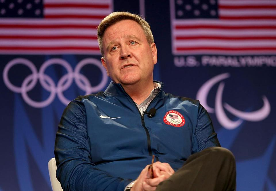 FILE: In the wake of the USA Gymnastics sexual abuse scandal, United States Olympic Committee CEO Scott Blackmun has announced his resignation. BEVERLY HILLS, CA - MARCH 07: USOC CEO Scott Blackmun addresses the media at the USOC Olympic Media Summit at The Beverly Hilton Hotel on March 7, 2016 in Beverly Hills, California. (Photo by Maxx Wolfson/Getty Images for the USOC)