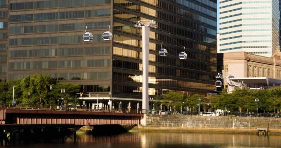 A rendering of the view across Fort Point Channel for the proposed South Boston Cableway project, page 72. (Handel Architects via City of Boston) 02gondola gondola tram