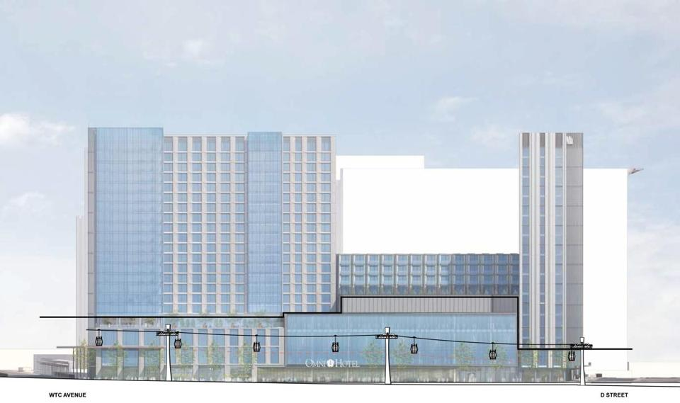 A rendering of the Omni Hotel sectional relationship for the proposed South Boston Cableway project, page 76. (Handel Architects via City of Boston) 02gondola gondola tram