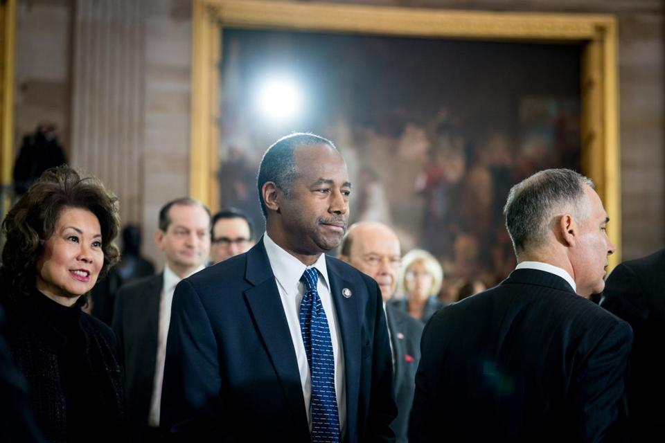 Ben Carson, the Housing and Urban Development secretary, during a memorial service for the Rev. Billy Graham at the U.S. Capitol building in Washington, Feb. 28, 2018. Carson is attempting to cancel a $31,000 order for a customized hardwood dining room table, chairs, sideboard and hutch for his work office and claiming that he did not know about the expense. (Erin Schaff/The New York Times)