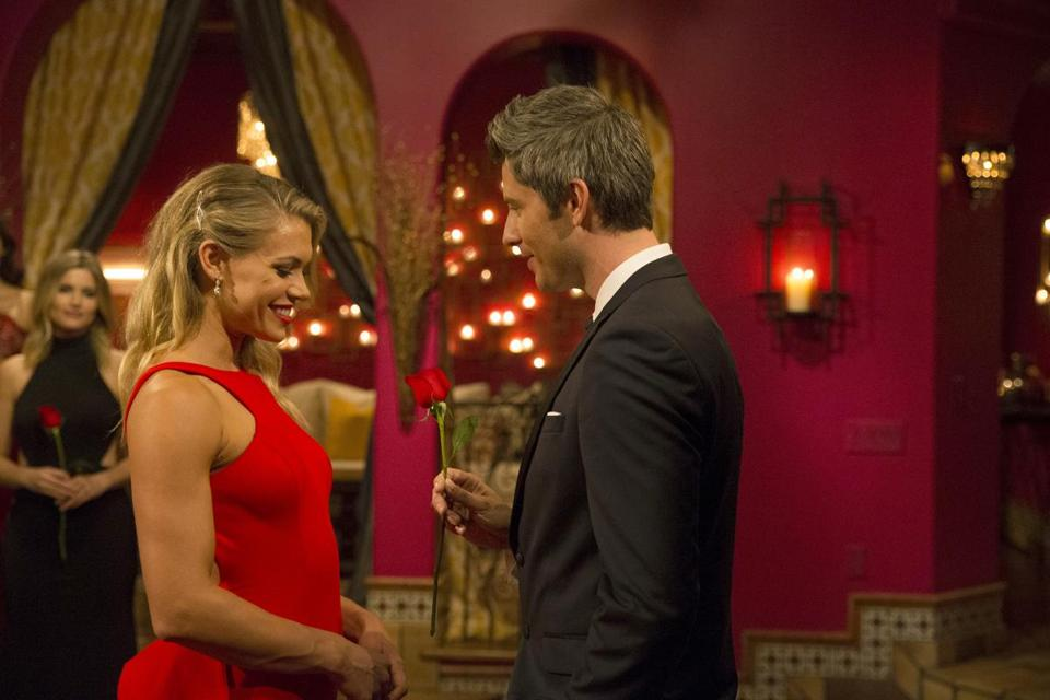 "Krystal and Arie Luyendyk Jr. in ""The Bachelor."""
