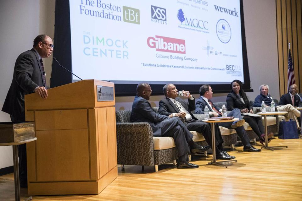 Black business leaders in the Boston area, like developer Richard Taylor (left), have suggested that with significant work, the city's culture could change. They were part of a forum, organized last week by the Black Economic Council of Massachusetts, at the Federal Reserve Bank of Boston.