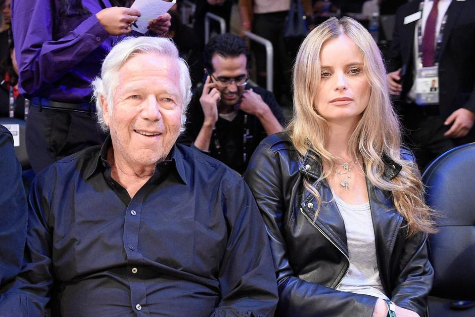 New England Patriots owner Robert Kraft and Ricki Noel Lander attend the 2018 Taco Bell Skills Challenge at Staples Center on Feb. 17 in Los Angeles.