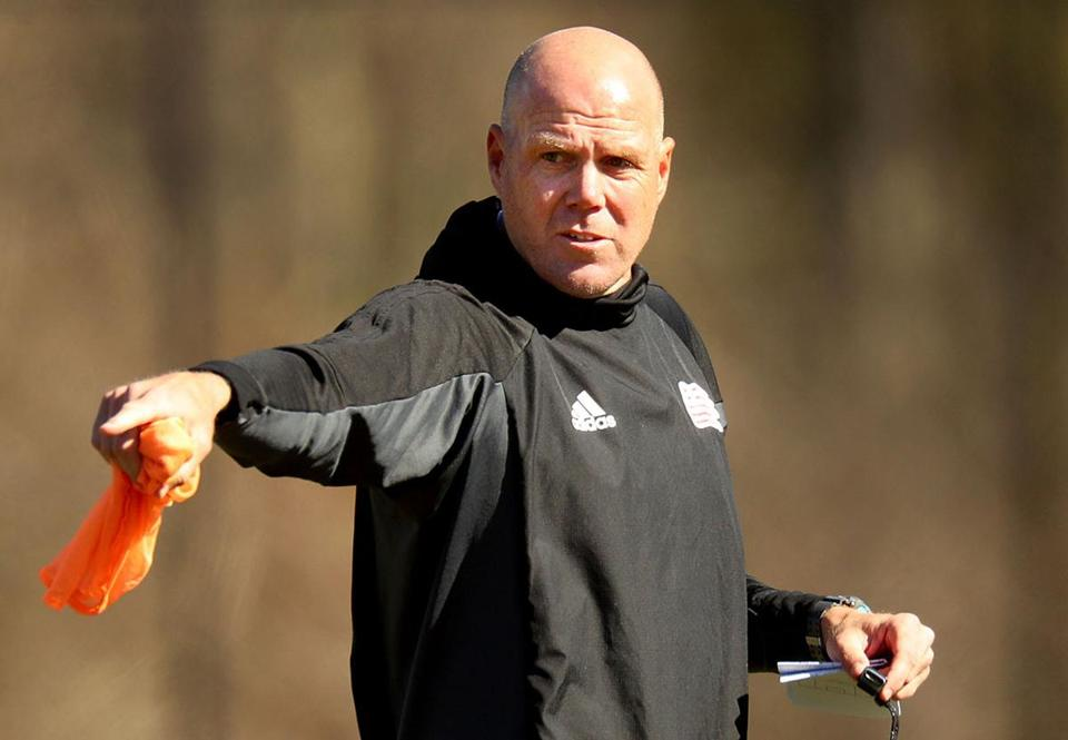 Foxborough-2/27/18- The Revolution practiced on their practice field in preparation for their season opener. Coach Brad Friedel. JohnTlumacki/Globe staff(sports)