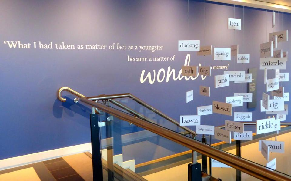 Mobiles of words from the poems of the Nobel laureate hang in the Seamus Heaney HomePlace in Bellaghy, Northern Ireland.