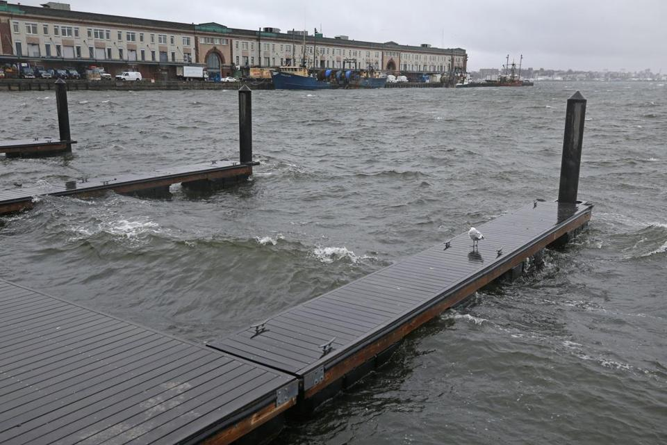 The waves in Boston Harbor quickly rose last Friday amid a nor'easter.