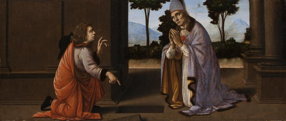 """A Miracle of Saint Donatus of Arezzo"" is attributed to Leonardo da Vinci and Lorenzo di Credi."