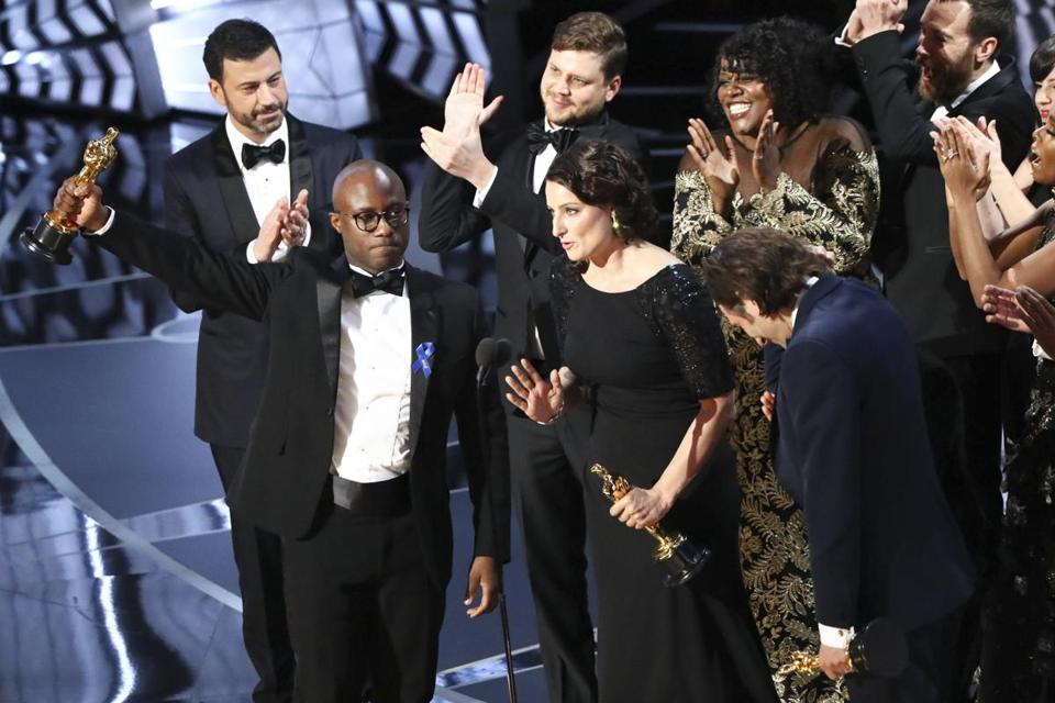 "FILE -- Barry Jenkins and the ""Moonlight"" team as they win best picture at the 89th Academy Awards in Los Angeles, Feb. 26, 2017. Films like ""Moonlight"" and ""Ladybird"" may be showing that Hollywood is changing. (Patrick T. Fallon/The New York Times)"