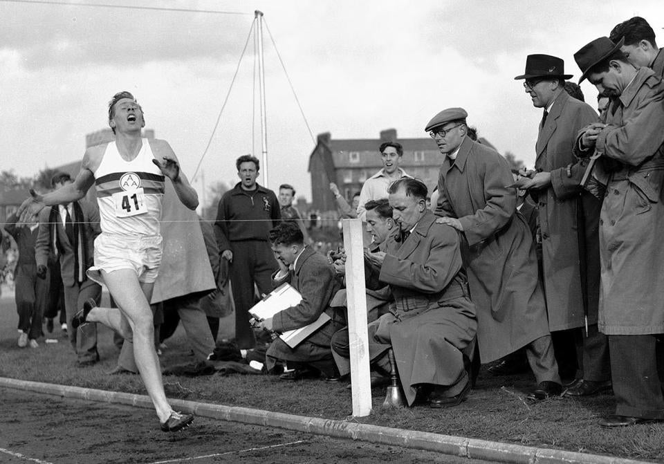 Roger Bannister broke through a mystical barrier when he crossed the finish  line in 3: