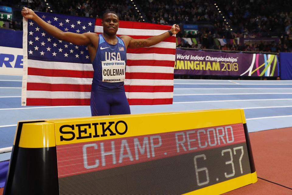 US athlete Christian Coleman celebrates winning the men's 60m final at the 2018 IAAF World Indoor Athletics Championships at the Arena in Birmingham on March 3, 2018. / AFP PHOTO / Adrian DENNISADRIAN DENNIS/AFP/Getty Images