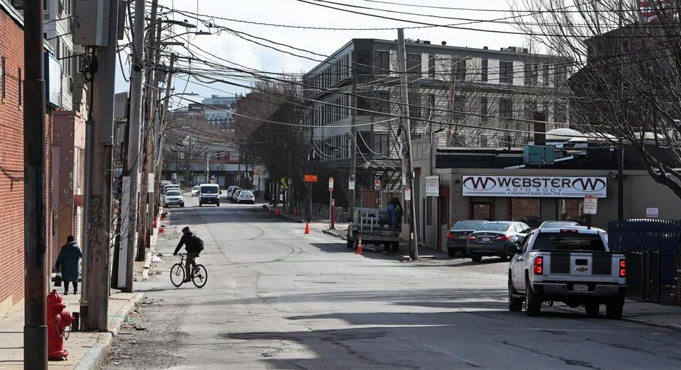 Webster Avenue, looking south. Developers see this part of Somerville as ripe for growth.