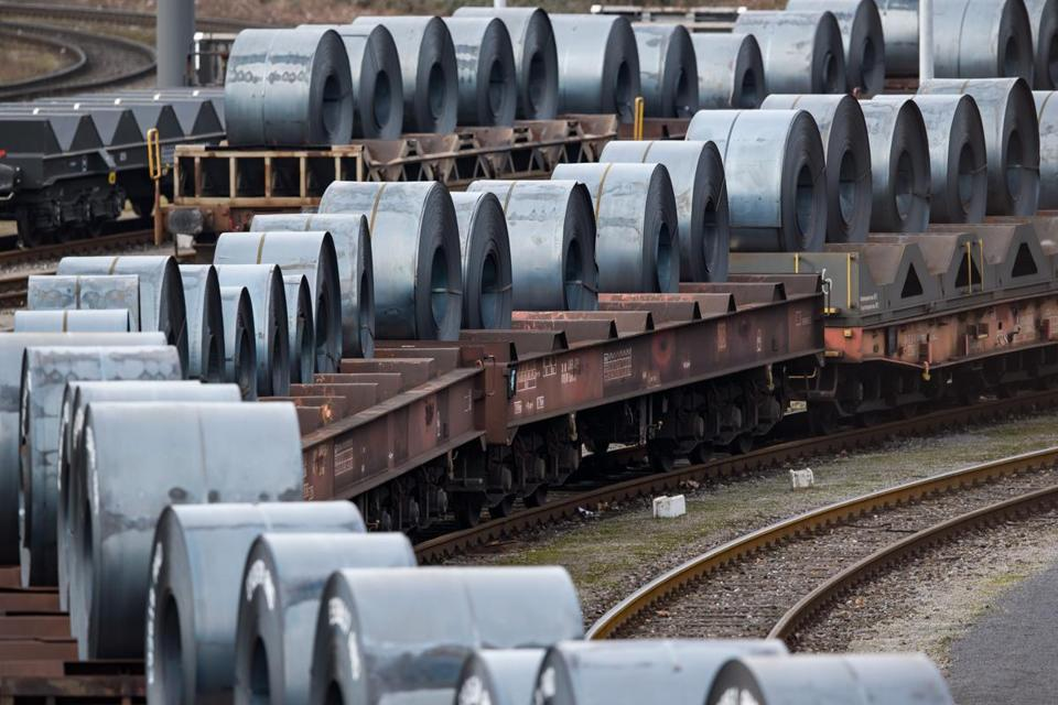 Coils were stored on trains in front of the ThyssenKrupp steel mill in Duisburg, Germany.