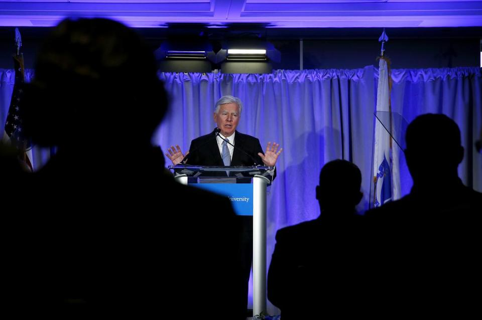"Boston, MA -- 3/05/2018 - UMass President Marty Meehan gives a ""State of the University"" speech at the UMass Club in Boston. (Jessica Rinaldi/Globe Staff) Topic: 06UMass Reporter:"