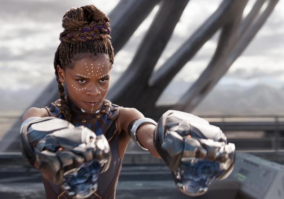 "Letitia Wright plays the king's brainy little sister in the Afrofuturist blockbuster ""Black Panther."" MUST CREDIT: Marvel Studios-Walt Disney"